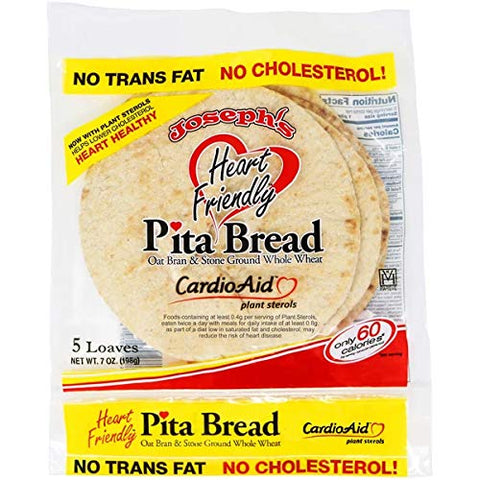HEART FRIENDLY PITA BREAD with Plant sterols CardioAid Kosher Pareve 5 Loaves 3 Packs , NO TRANS FAT!