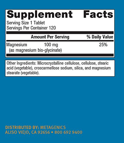 Metagenics - Mag Glycinate, 120 Count
