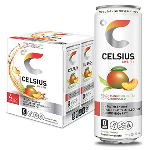 CELSIUS Peach Mango Green Tea Non-Carbonated Fitness Drink, Zero Sugar, 12oz. Slim Can (Pack of 4)