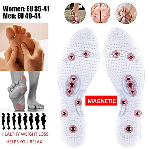 Women Men Silicone Insole Magnetic Therapy Anti Fatigue Health Care Massage Foot Insoles Therapy Reflexology Pain Relief Pads Men: Fit for EU 40-44 (Approx. 27x9cm/ 10.63x3.54'')