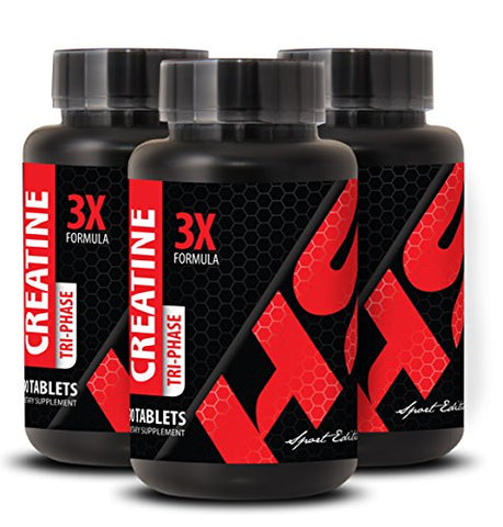 Pre Workout Pills - CREATINE 3X Powerful Formula - Creatine for Women - 3 Bottles 270 Tablets