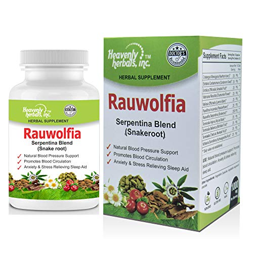 Rauwolfia Serpentina Blend (Snakeroot), 1000mg per Serving - Organic Herbal Supplement - Ayurvedic Herb & Natural Remedy - Natural Blood Pressure Support, Cardiovascular Health Aid- 60 Ct.
