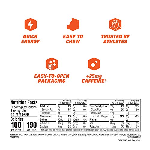 Clif BLOKS - Energy Chews - Orange Flavor - 25mg Caffeine (2.1 Ounce Packet, 18 Count)