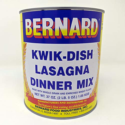 Bernard Foods Lasagna Dinner Mix SURVIVAL FOOD 50 SERV. ONE #10 can