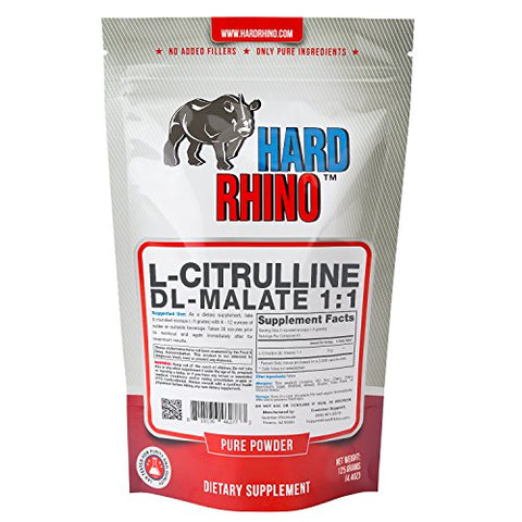 Hard Rhino L-Citrulline DL-Malate 1:1 Powder, 125 Grams (4.4 Oz), Unflavored, Lab-Tested, Scoop Included