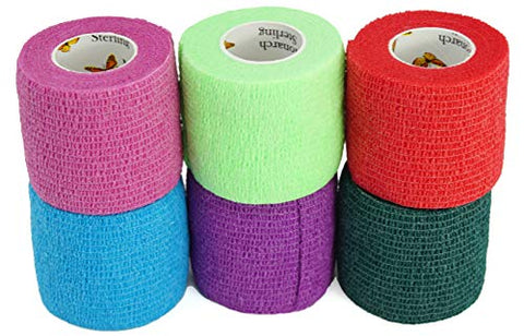 Elasti-Wrap 2 Inch Breathable, Self-Adherent, Self Adhesive Cohesive Bandage Vet Wrap Assorted Colors (6, 12, 18 & 24 Packs) (6 Rolls)