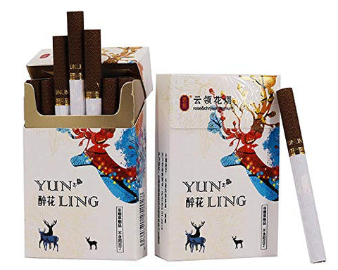 Yunnan Chinese Herbal Medicine, Green Tea, Cigarettes, Herbal Tea, Smoked Tea, Clean Lungs-Cigarette Substitute, 100% smokeless-100% Tar (5 Packs, Colorful Fawn)