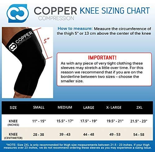 Copper Compression Recovery Knee Sleeve - Guaranteed Highest Copper Content with Infused Fit. Best Copper Knee Brace for Men and Women. Wear to Support Stiff + Sore Muscles + Joints (Medium)