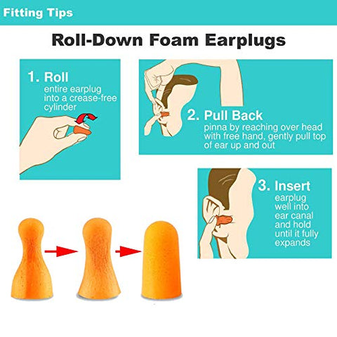 Foam Ear Plugs for Sleeping - Individually Wrapped, Soft uncorded earplugs for Ear Protection - 50 Pairs