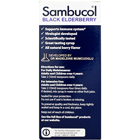 Sambucol Black Elderberry Original Formula, 4 Fluid Ounce Bottle, High Antioxidant Black Elderberry Extract Syrup for Immune Support