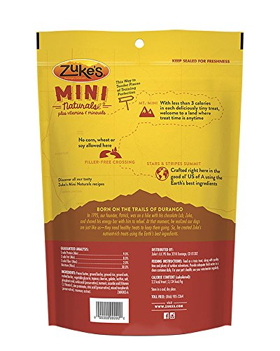 Zuke's Natural Training Dog Treats; Mini Naturals Recipe; Made In Usa Facilities, 16 Oz, Peanut Butt