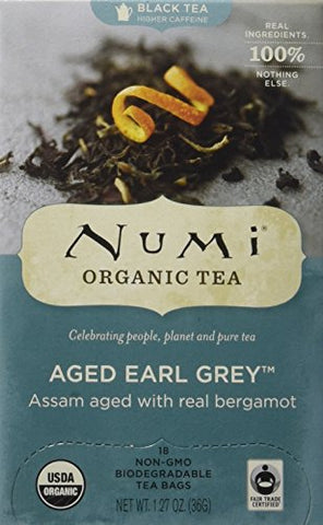 Numi Aged Earl Grey Tea, Organic, 18 Count (Pack of 6)