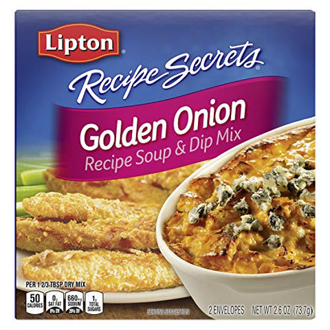 Lipton Recipe Secrets Soup and Dip Mix, Golden Onion 2.6 oz, Pack of 12