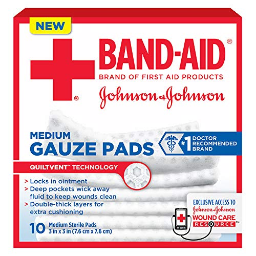 Band-Aid Medium Gauze Pads, 10 Sterile Pads (Pack of 2)