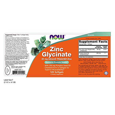 Now Supplements, Zinc Glycinate With 250 Mg Pumpkin Seed Oil, Supports Prostate Health*, 120 Softgel