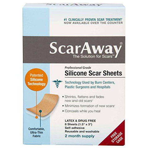 ScarAway Silicone Scar Sheets 8 Count (1.5