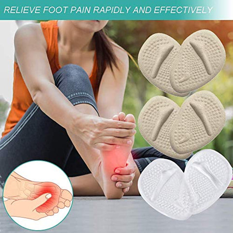 Metatarsal Pads Ball of Foot Cushions Adhesive Gel Non Slip Forefoot Protector Shoe Inserts for Women Men High Heels Sandal Shoes Pain Relief Mortons Neuroma Callus Blisters (3 Pairs) (Multicolor)