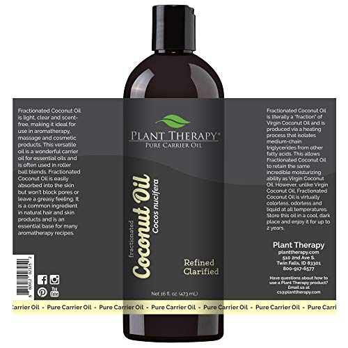Plant Therapy Essential Oils Fractionated Coconut Oil for Skin, Hair, Body 100% Pure, Natural Moisturizer, Massage & Aromatherapy Liquid Carrier Oil 16 oz Plus 2 oz, Pump Included