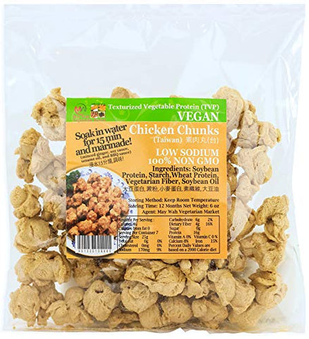 Textured Vegetable Protein (TVP) - Meatless Chicken Chunks, Vegan/Vegetarian Meat Substitutes 100% Non-GMO, All Natural, 6 oz bag (Chicken Chunks)