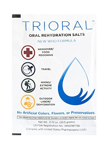 Oral Rehydration Salts ORS (50, One Liter Packets/Box) World Health Organization (WHO) New Formula for Food Poisoning, Hangovers, Diarrhea, Electrolyte Replacement