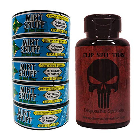 Oregon Mint Snuff Co. - Wintergreen (5 Cans) - Includes Mud Bud Disposable Spittoon (Punishr MB)