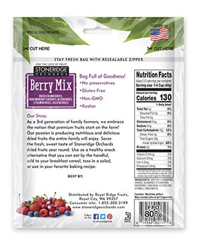 Stoneridge Orchards Whole Dried Berry Mix 5 ounce (Pack of 6)