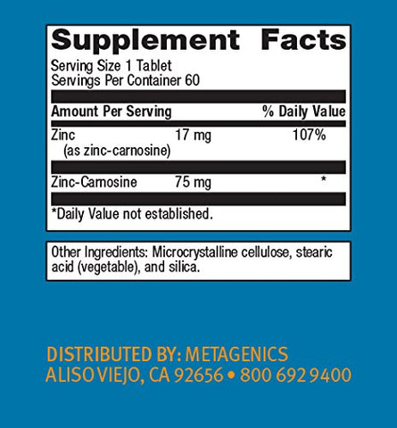 Metagenics - Zinlori 75, 60 Count