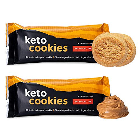 Perfect Keto Cookies - 12 Pack (24 Cookies) Low Net Carb Snacks & Sweets, No Added Sugar and Gluten-Free Cookies  Keto Food for Healthy and Keto-Friendly Diet - Peanut Butter