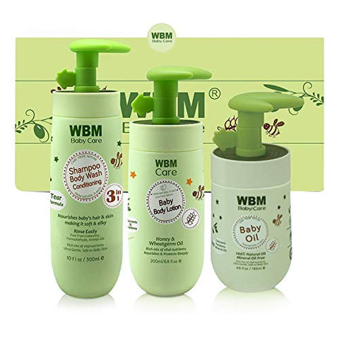 WBM LLC WBM Care Essential Baby & Mommy Oil, Lotion & 3 in 1 Baby Shampoo Care & Bath Products to Nourish Skin, 3 Items, Bathtime Solutions Gift Set