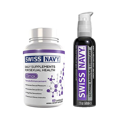 Swiss Navy Climax Female Libido Enhancement Supplements 60 tablets and Arousal Sex Lubricant 2oz