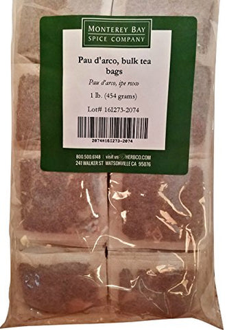 Pau D'Arco ALL-NATURAL HERBAL TEA 200 Bags 1 LB (Tabebuia Impetiginosa) (inner bark) - Approximately 200 Individual Tea Bags Bulk (16 oz) Caffeine Free