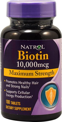 Natrol Biotin Maximum Strength 10,000 mcg (Pack of 5) (100 tablets)