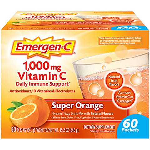 Emergen-C Vitamin C 1000mg Powder (60 Count, Super Orange Flavor, 2 Month Supply), With Antioxidants, B Vitamins And Electrolytes, Dietary Supplement Fizzy Drink Mix, Caffeine Free