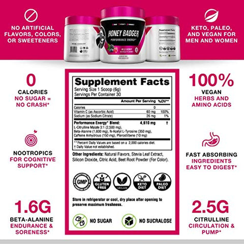 Honey Badger Vegan Keto Pre Workout | Wild Berry | Natural Paleo Sugar Free Pump Energy Supplement Nootropics Amino Acids Nitric Oxide Sucralose Free + Non Habit Forming | 30 Serving