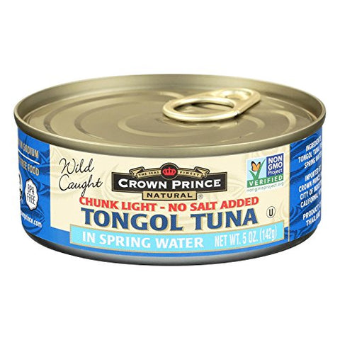Crown Prince Tongul Tuna, In Water, No Salt, 5 oz