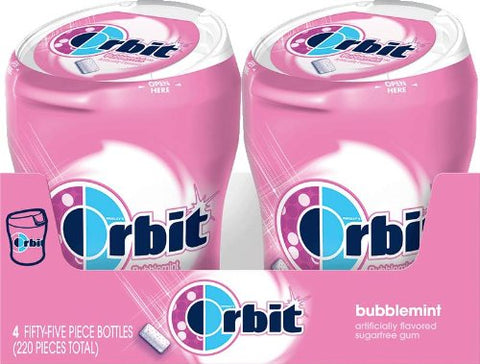 Orbit Bubblemint Sugarfree Gum, 55 piece bottles (Pack of 4)