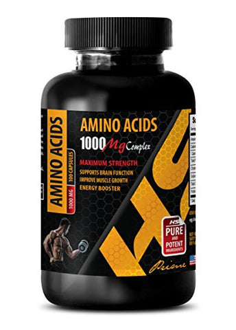 Muscle Builder Nitric Oxide Booster - Amino ACIDS 1000 mg Complex - Extra Strength - Amino acids Supplements Post Workout - 1 Bottle 100 Capsules