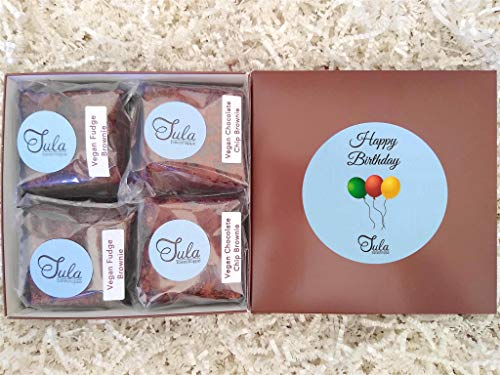 Tula Bakeshoppe Vegan Birthday Chocolate Lover Bars Gourmet Favors Gift Box for Son, Daughter, Stepson, Stepdaughter (8 Bars & Card)