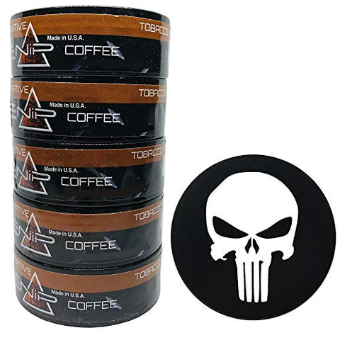Nip Energy Dip Coffee 5 Cans with DC Crafts Nation Skin Can Cover - Punisher