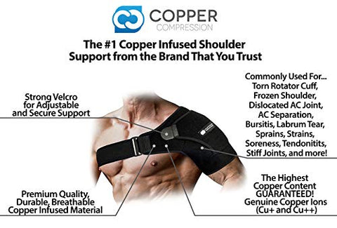 Copper Compression Recovery Shoulder Brace - Highest Copper Content Shoulder Stability Support Brace. Adjustable Fit Sleeve Wrap Men Women. Relief for Shoulder Injuries, Tendonitis (One Size Regular)