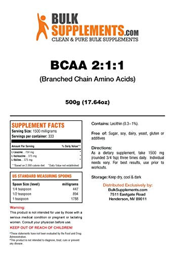 Bulk Supplements.Com Bcaa 2:1:1 (Branched Chain Amino Acids) (500 Grams)