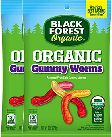 Black Forest Organic Organic Gummy Worms/ Gummy Bears USDA Certified Organic Gluten Free Net Wt 4 Oz (Gummy Worms, 2)