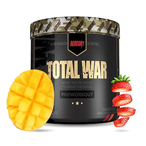 Redcon1 Total War - Pre Workout, 30 Servings, (Strawberry Mango) Boost Energy, Increase Endurance and Focus, Beta-Alanine, 350mg Caffeine, Citrulline Malate, Nitric Oxide Booster - Keto Friendly