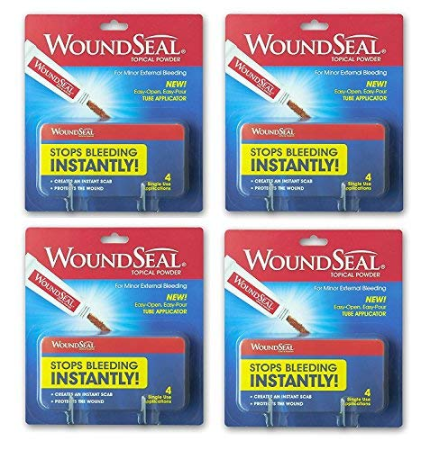 Wound Seal Powder 4 Each (Pack Of 4)   Wound Care First Aid For Cuts, Scrapes And Abrasions   Stops B