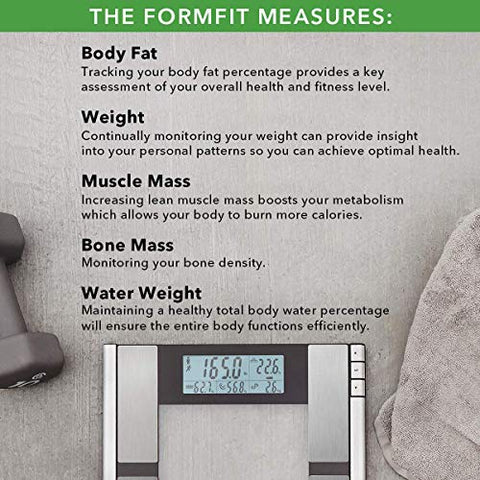 Vitagoods Form Fit Digital Scale And Body Analyzer Tracks Fat, Weight, Muscle/Bone Mass, Water Weigh