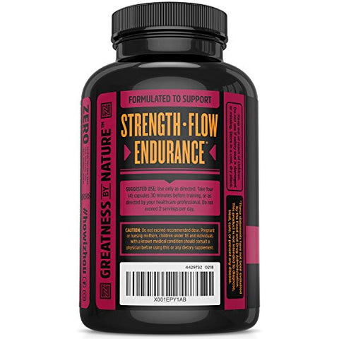 Zhou Nutrition Nitric Oxide Supplement with L Arginine, Citrulline Malate, AAKG and Beet Root - Powerful N.O. Booster and Muscle Builder for Strength, Blood Flow and Endurance - 120 Veggie Capsules.