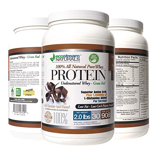 Pure 100% Undenatured 100% Grass Fed Pure Whey Protein 2 lbs - Low Carb - Low Fat - Rich Chocolate Swirl Flavor No Artificial Sweeteners or Flavors with 1000 mg Added L-Glutamine