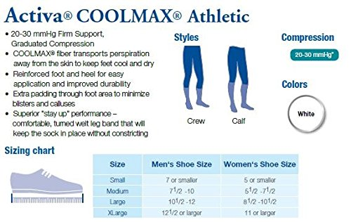 Activa Coolmax 20-30 mmHg Athletic Over The Calf Socks, White, Small
