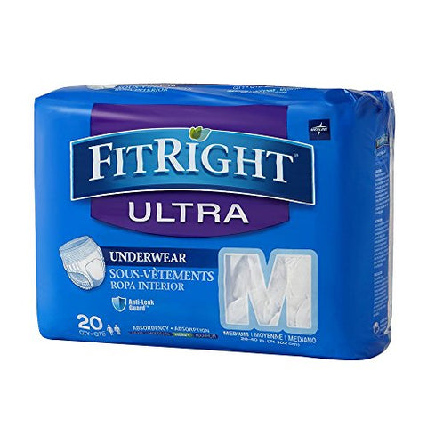 Medline FIT23005A Fitright Ultra Protective Underwear, M, 28-40