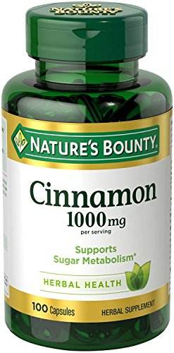 Nature's Bounty Cinnamon 1000mg, 100 Capsules (Pack of 6)
